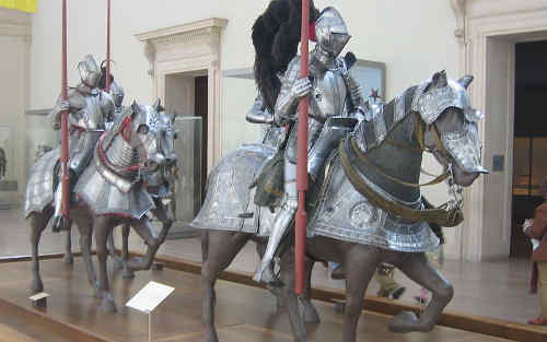 medieval knights in plate armor
